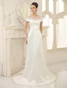 Image of Vestito da sposa avorio in raso con perline con scollo rotondo