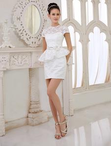 Image of Abito da sposa per ricevimento Elegante avorio guaina gioiello collo Split anteriore corto Reception Abito da sposa Milanoo