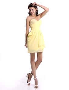 Sweetheart Neck Applique Chiffon Daffodil Short Bridesmaid Dress