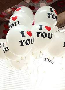 100-Morceau blanc je t'aime impression mariage ballons