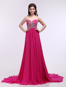 Chiffon Evening Dress Hot Pink Beaded Prom Dress Strapless Sweetheart A Line Court Train Party Dress