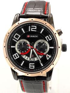 Reloj con correa de cuero artificial