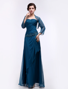 Chiffon Evening Dress Turquoise 2 Piece  Mother of the Bride Dress Sweetheart Beaded Pleated Floor Length Party Dress