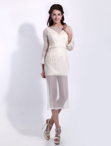 Pretty Sheath Jewel Neck Beading Long Sleeves Tulle Cocktail Dress  Milanoo