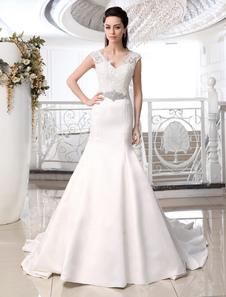 Image of Abiti da sposa sirena tromba scollo a V abito da sposa in raso avorio strass perline cappella treno abito da sposa per spose