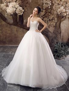 Image of Abbigliamento da sposa avorio moderno in organza con perline con