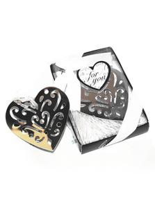 Image of Cuore a forma di acciaio inossidabile segnalibro favori per matr