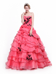 Coral  Quinceanera Dress Organza Applique Prom Dress Strapless Sweetheart Tiered Ball Gown Floor Length Party Dress