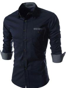 Algodón mezcla Color sólido formando manga larga extensión camisa Casual varonil impresión cuello