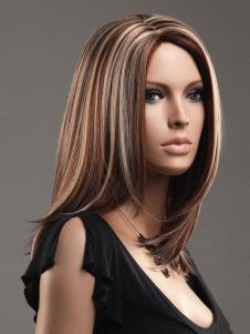 Image of Marrone medio parrucca medio lato-spazzato frangetta sintetici di qualità della donna