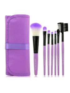 Image of Applicazione professionale viola tela 7 pezzi fibre sintetiche Texture morbida Makeup Brush Set