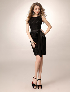 Sheath KneeLength Black Sash Lace TwoPiece Bridesmaid Dress with Jewel Neck