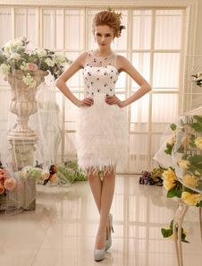 Image of Abbigliamento da sposa avorio chic moderno in tulle con ampie maniche con collo rotondo al ginocchio  Milanoo