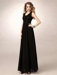 Image of Abbigliamento per la madre della sposa nero a-linea in chiffon