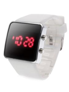 Milanoo UK  Casual White Metal Silica Quartz Square LED Wrist Watch