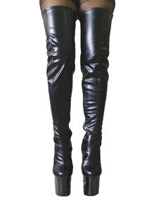 Image of Cerniera mandorla Toe PU pelle Sexy tacco alto stivali per le donne