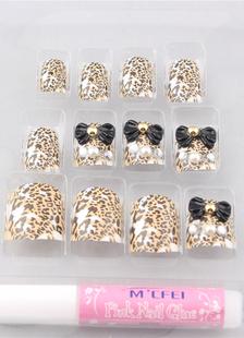 Image of Consigli e Multi colore Bow leopardo stampa 12 pezzi resina moda unghie acriliche