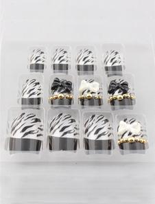 Image of Split colore fiocco Zebra Chic stampa 12 pezzi resina acrilico unghie e Tips
