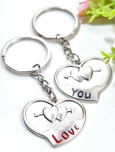 Image of Nozze d'argento Set portachiavi amore cuore in rilievo in metallo portachiavi