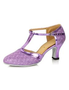 Image of Mandorla Toe cinturino alla caviglia con paillettes panno qualità scarpe latino