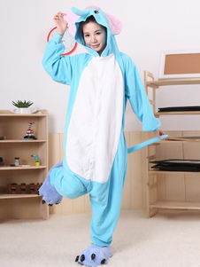Kigurumi Pajama Elephant Onesie For Adult Blue fleece Flannel Animal Costume