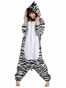 Kigurumi Pajama Zebra Onesie For Adult fleece Flannel Black White Animal Costume