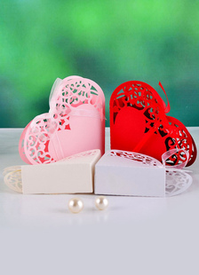 Image of Infinito cuore carta perla Bomboniere borse Set di 12