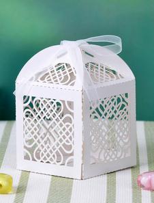 Image of Quadrato bianco Hollow fuori cuore a cuore matrimonio favore Box Set di 12