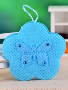 Image of Fiore blu forma farfalla carta perla Bomboniere borse Set di 12