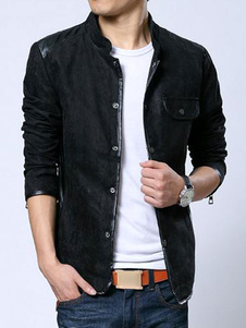 PU Casual Trench Coats Stand Collar Front Button Mens Jackets