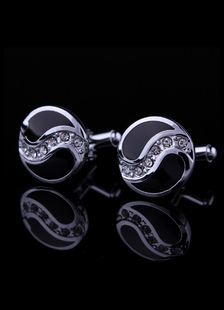 black-silver-crystal-round-mens-cufflinks