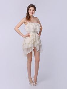 Tiered Strapless Aline High Low Design Bright Silk Chiffon Dress Milanoo