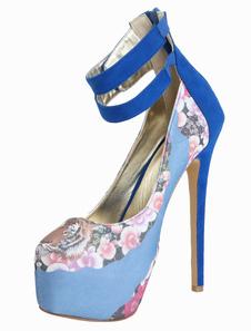 Image of Blu piattaforma pompe di mandorla Toe montone stampa floreale Suede donna