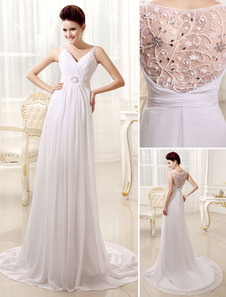 Image of Cinturino Spaghetti abito plissettato bianco abito da sposa per