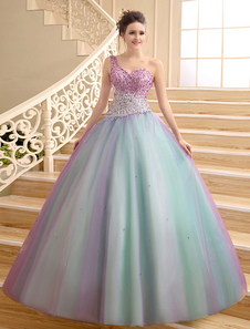 Color BlockOneShoulder FloorLength Beading Ball Quinceanera Dress