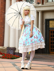 Image of Blu Lolita Vestito di Cotone con Stampa Floreale Maniche Corte e Volant