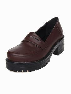 Dandy Khaki Round Toe PU Leather Street Wear Lolita Shoes