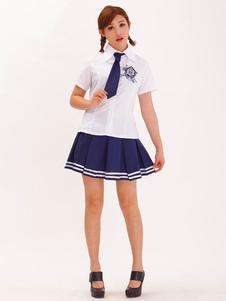 Halloween Nerd Costume Split Color Women's School Girl Costume