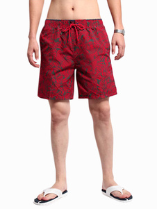Image of Nero Shorts coulisse Stampa floreale vita poliestere uomo