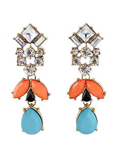 Image of Elegante Multi colore metallo Drops Design orecchini