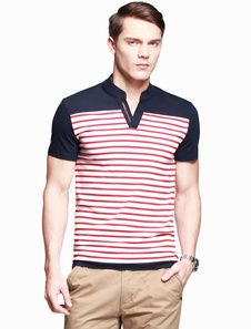 Image of Stand colletto maniche corte cotone Stripe Casual Tee camicia uo