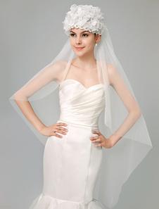 Image of Tulle avorio esclusivo goccia fiore strass pizzo velo da sposa cappello-come per il matrimonio
