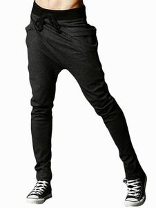 Image of Pantaloni Harem 2018 grigio scuro con cavallo basso increspato da uomo