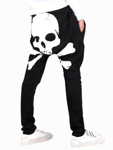 Pantalons de style sarouel en coton imprimé squelette