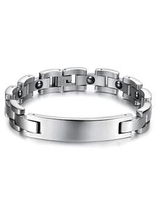 Image of Bracciale argento lucido unico in acciaio inox per gli uomini