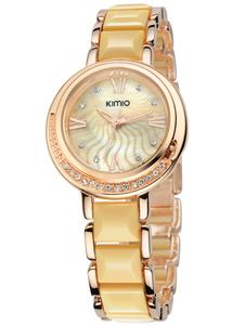 Milanoo UK  Gold Stainless Steel Ceramics Round Shape Watch For Women