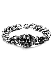 Image of Teschio argento elegante modellatura bracciale acciaio uomo