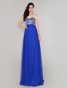 Image of Royal Blue 30D Chiffon Sequined Prom Dress