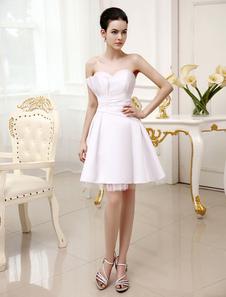 Image of Abito da sposa corto in raso bianco con collo Sweetheart