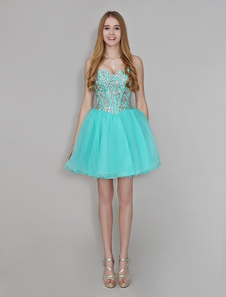 Turquoise Sweetheart Homecoming Dress Backless Organza Rhinestone Beaded A Line Short Prom Dress